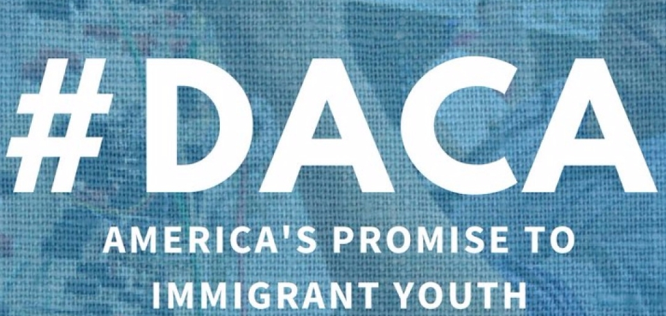 Hashtag referring to DACA program, an executive order enacted to protect undocumented youth, which is now in jeopardy.