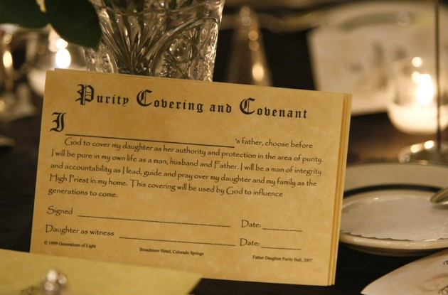 The Purity Covering and Covenant pledge that fathers and daughters recite and sign at the annual Father-Daughter Purity Ball in Colorado Springs